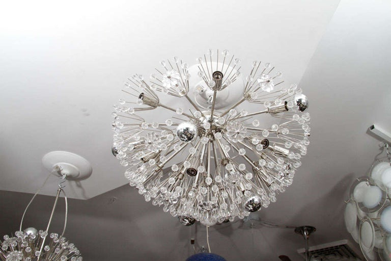 Custom large Austrian snowflake crystal flush mount in nickel finish. Customization available for different sizes and finishes.