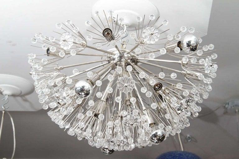 Mid-Century Modern Custom Large Austrian Snowflake Crystal Flush Mount For Sale