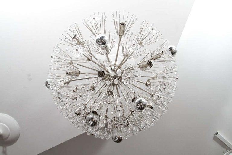 American Custom Large Austrian Snowflake Crystal Flush Mount For Sale
