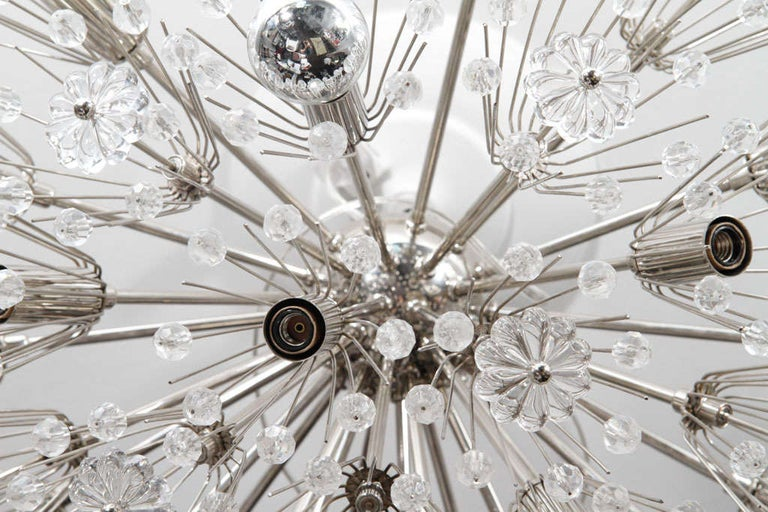 Custom Large Austrian Snowflake Crystal Flush Mount In New Condition For Sale In New York, NY