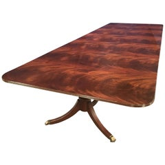 Custom Large Crotch Mahogany Georgian Style Dining Table by Leighton Hall
