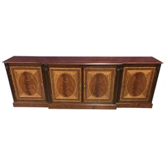 Custom Large Mahogany Georgian Style Four-Door Buffet Credenza by Leighton Hall