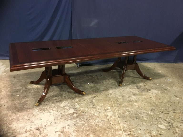 Custom Large Mahogany Rectangular Conference Table by Leighton Hall For Sale 4