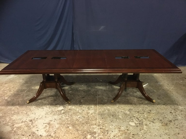 Custom Large Mahogany Rectangular Conference Table by Leighton Hall For Sale 5