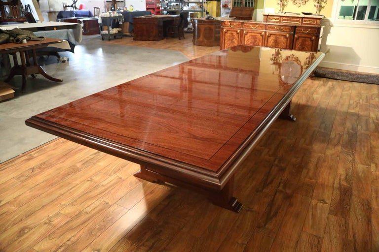 Modern Custom Large Mahogany Rectangular Conference Table by Leighton Hall For Sale