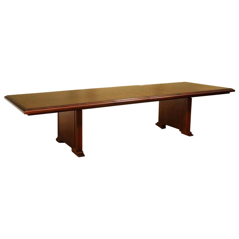 Custom Large Mahogany Rectangular Conference Table by Leighton Hall For Sale