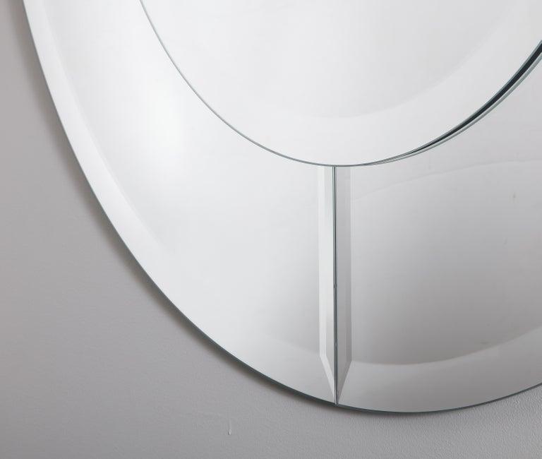 Modern Custom Large Round Beveled Mirror in the Manner of Karl Springer For Sale