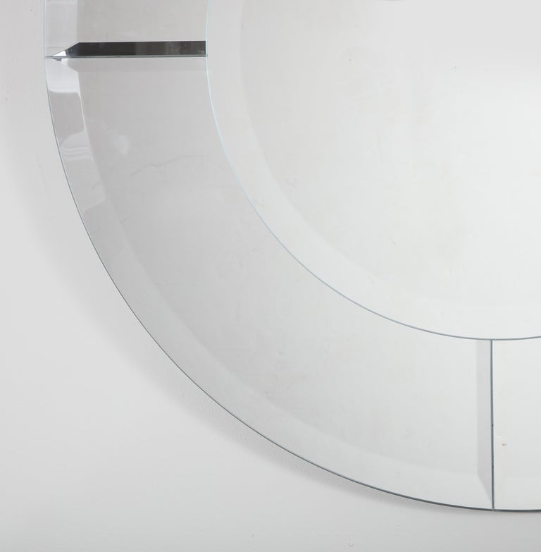 Custom Large Round Beveled Mirror in the Manner of Karl Springer In New Condition For Sale In New York, NY
