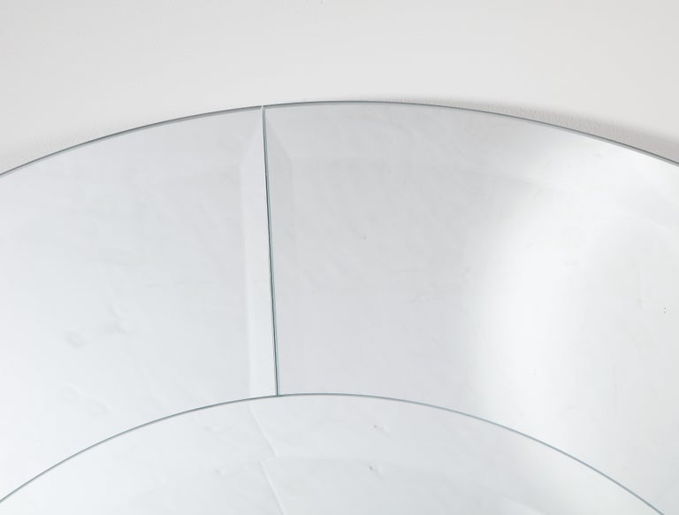 Contemporary Custom Large Round Beveled Mirror in the Manner of Karl Springer For Sale