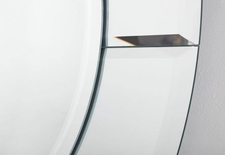 Custom Large Round Beveled Mirror in the Manner of Karl Springer For Sale 1