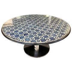 Custom Large Round Spanish Mosaic Tile Top Dining Table