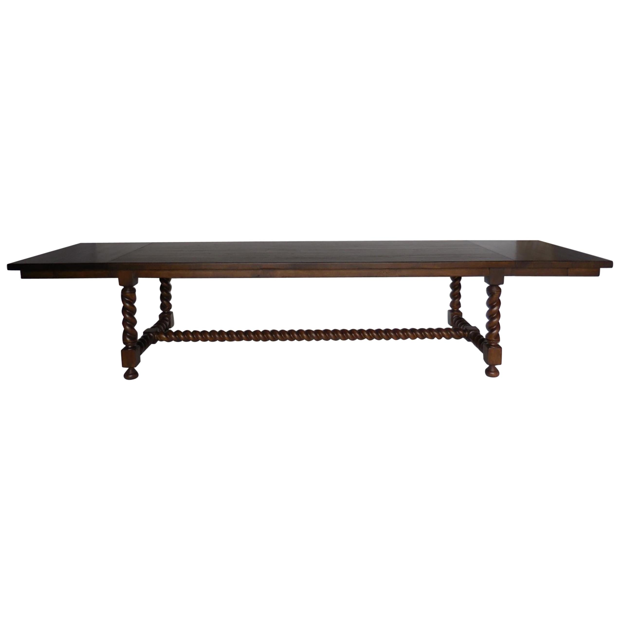 Custom Large Scale Barley Twist Dining Table with Leaves
