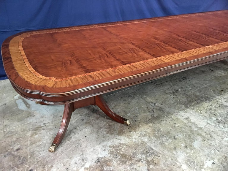 Custom Large Scallop Cornered Georgian Style Dining Table by Leighton Hall For Sale 4