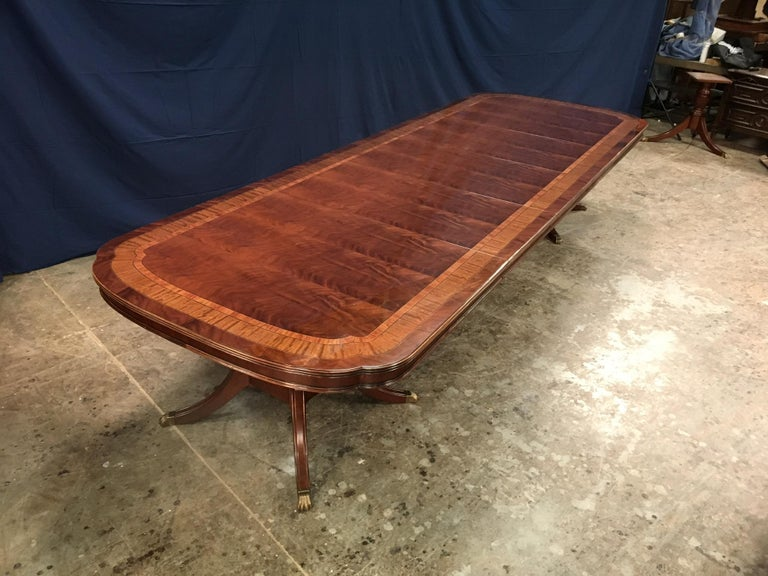 Custom Large Scallop Cornered Georgian Style Dining Table by Leighton Hall For Sale 5