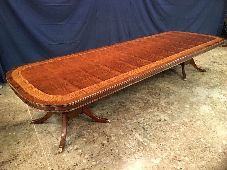 American Custom Large Scallop Cornered Georgian Style Dining Table by Leighton Hall For Sale