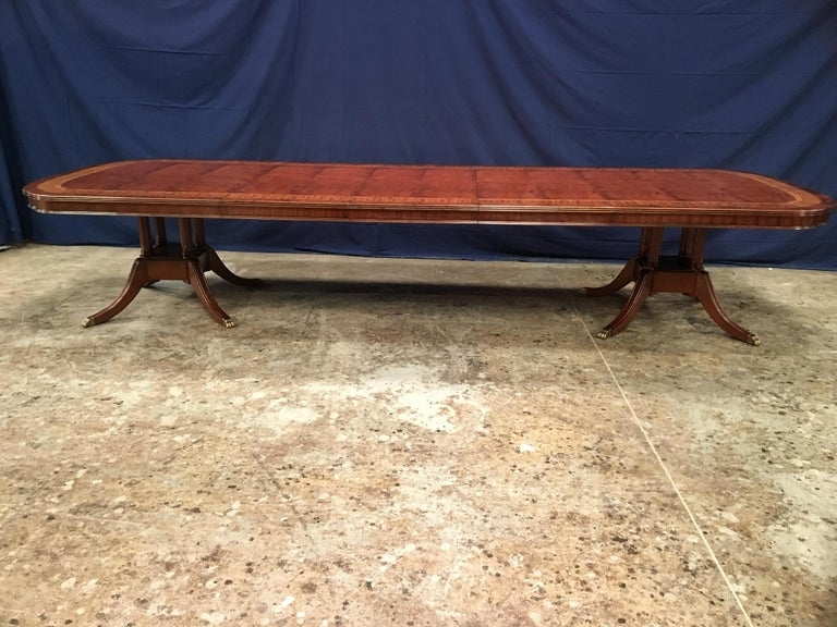 Tulipwood Custom Large Scallop Cornered Georgian Style Dining Table by Leighton Hall For Sale