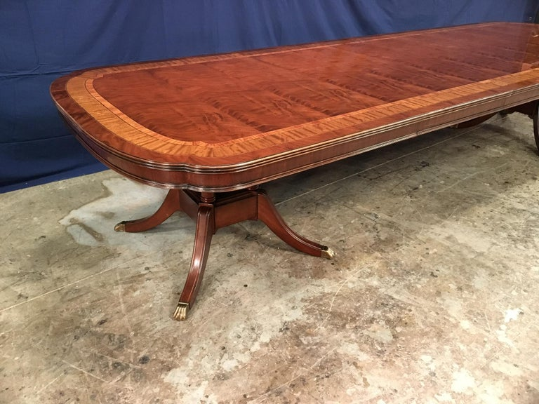 Custom Large Scallop Cornered Georgian Style Dining Table by Leighton Hall For Sale 1