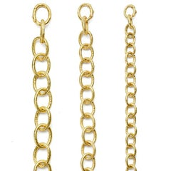 Custom Large & Small Link Hand Hammered Chain in 18kt Gold
