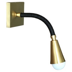 Custom Leather and Brass Meander Sconce with Adjustable Swing Arm