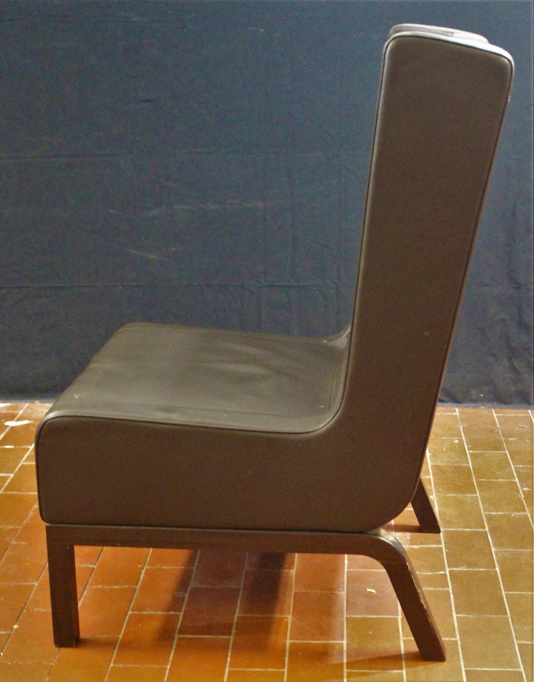 American Custom Leather Side Chair in a Rich Brown Leather For Sale