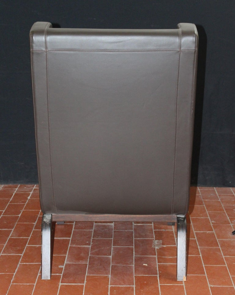 Custom Leather Side Chair in a Rich Brown Leather In New Condition For Sale In Long Island City, NY