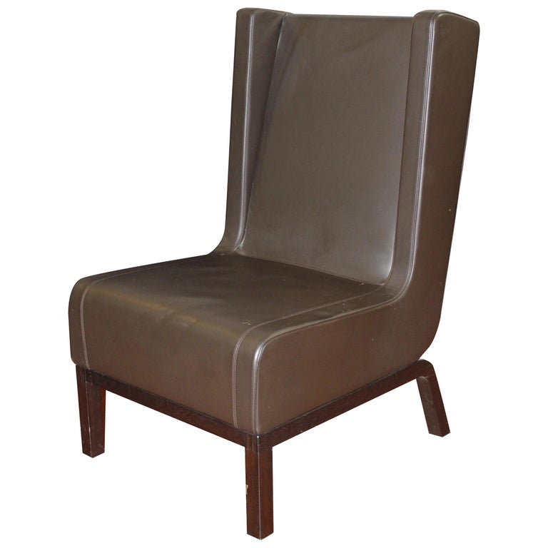 Custom Leather Side Chair in a Rich Brown Leather For Sale