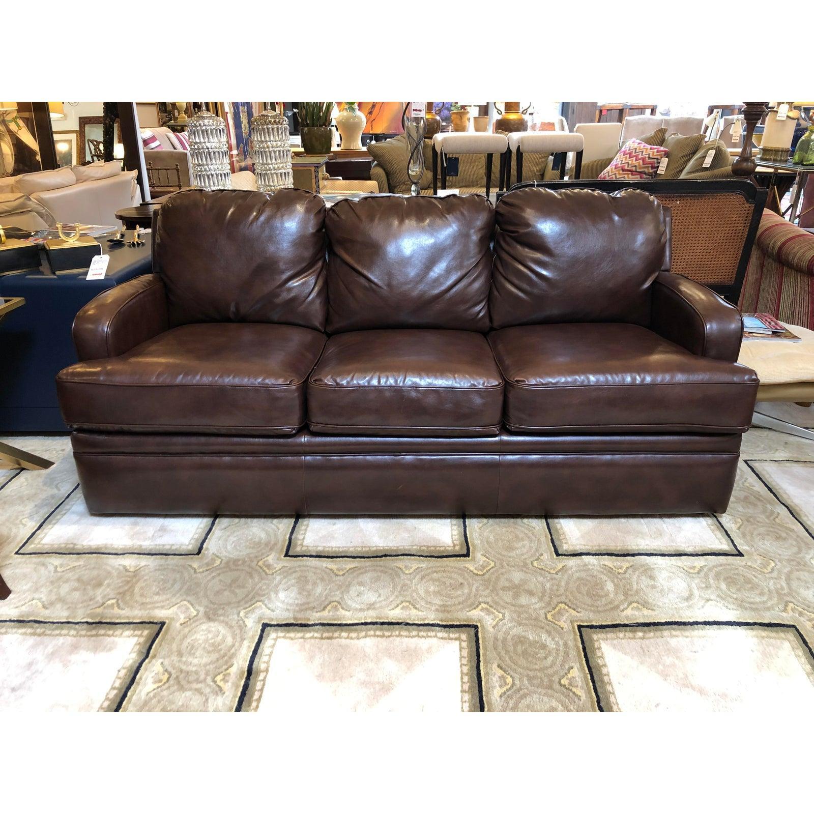 Custom Leather Sofa By Pottery Barn