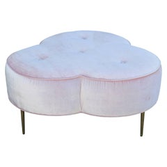Custom Light Pink Velvet Trefoil Ottoman with Brass Legs