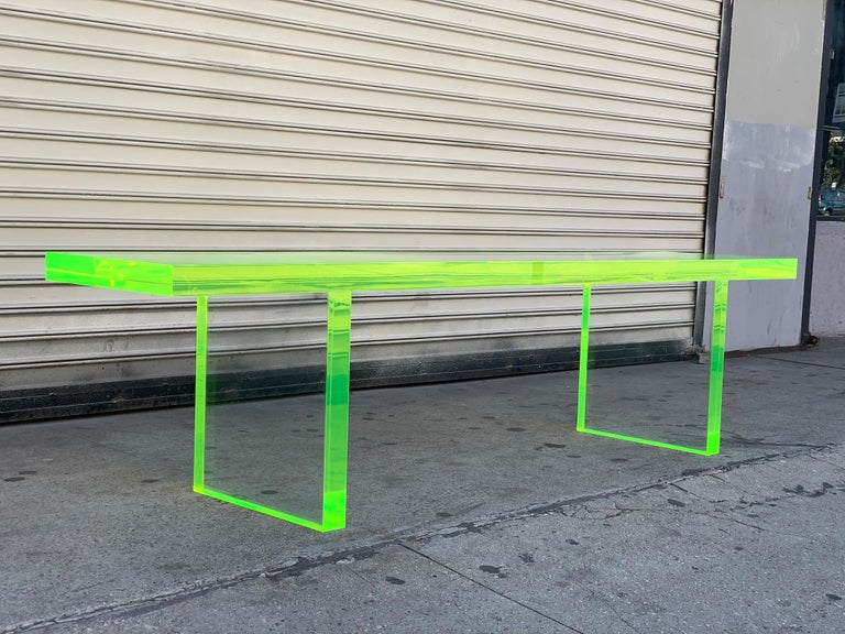 Custom Lime Green Lucite Bench by Cain Modern For Sale 6
