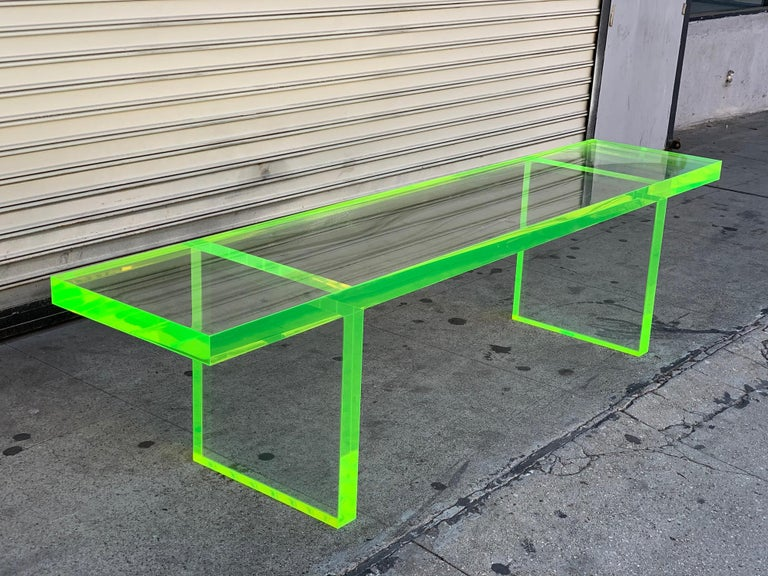 Custom Lime Green Lucite Bench by Cain Modern For Sale 7