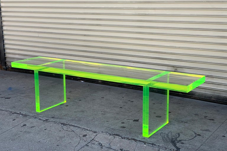 Custom Lime Green Lucite Bench by Cain Modern For Sale 8
