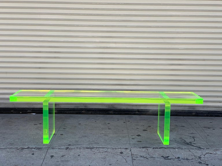 Custom Lime Green Lucite Bench by Cain Modern For Sale 9