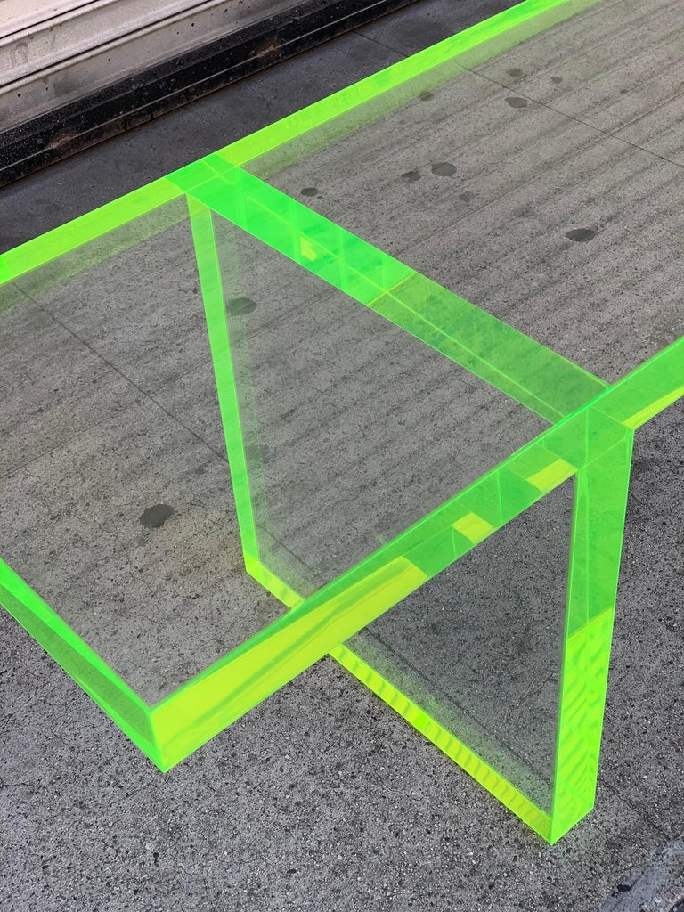 Custom Lime Green Lucite Bench by Cain Modern In Good Condition For Sale In Los Angeles, CA