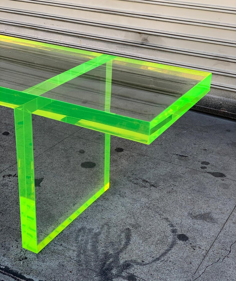 Contemporary Custom Lime Green Lucite Bench by Cain Modern For Sale