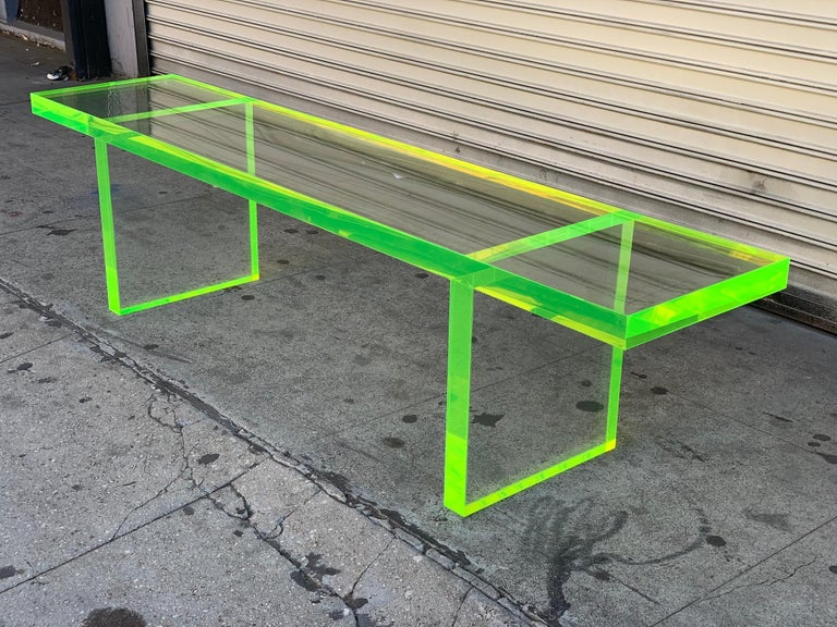 Custom Lime Green Lucite Bench by Cain Modern For Sale 1