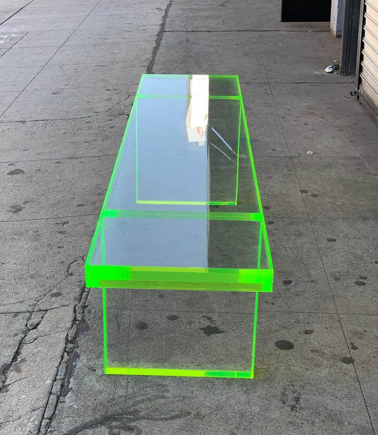 Custom Lime Green Lucite Bench by Cain Modern For Sale 2