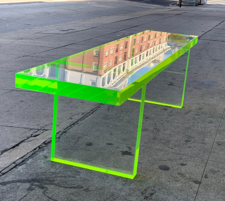 Custom Lime Green Lucite Bench by Cain Modern For Sale 3