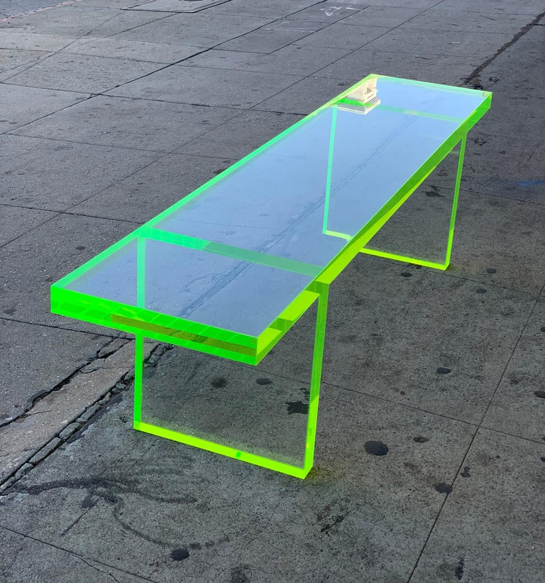 Custom Lime Green Lucite Bench by Cain Modern For Sale 4