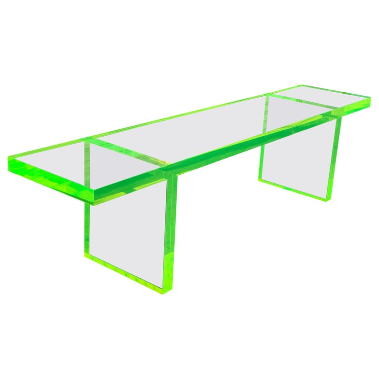 Custom Lime Green Lucite Bench by Cain Modern For Sale