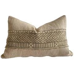 Custom Linen Pillow with Vintage Batik Trim