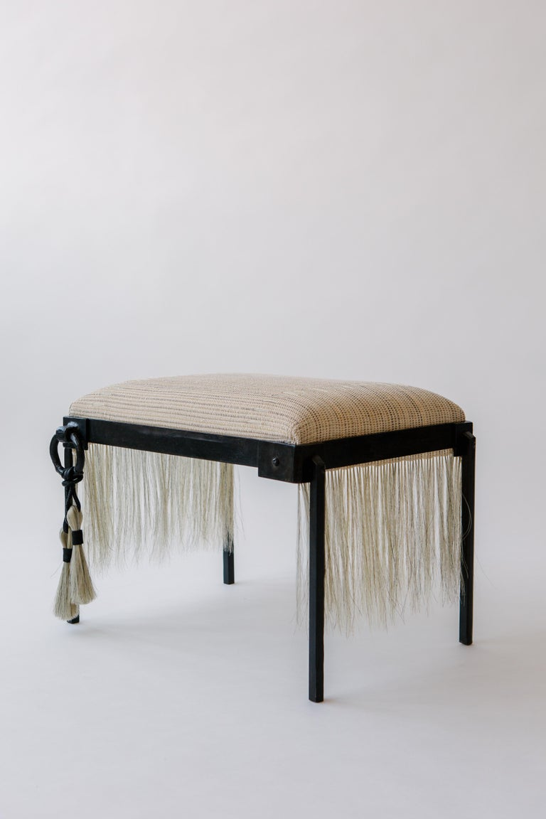 Horse-hair textile and blackened iron are combined to form a dynamic juxtaposition of elements. Horse-hair, a medium used for centuries. J.M. Szymanski uses traditional metal casting techniques combined with modern machine tools to create a unique