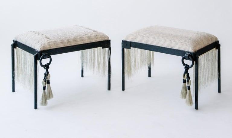 American Custom Listing, Handmade Horse Hair and Iron Stool/Bench by J.M. Szymanski For Sale