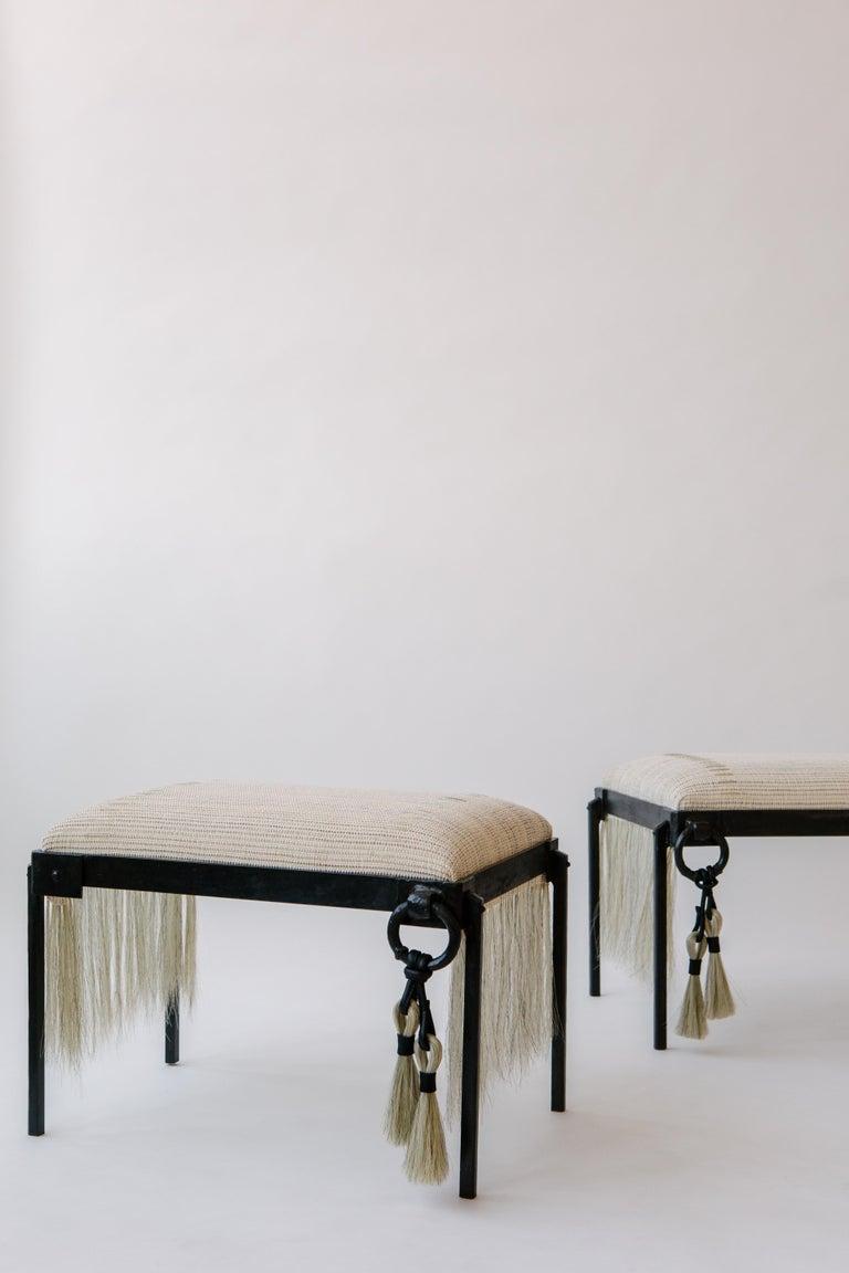 Hand-Woven Custom Listing, Handmade Horse Hair and Iron Stool/Bench by J.M. Szymanski For Sale
