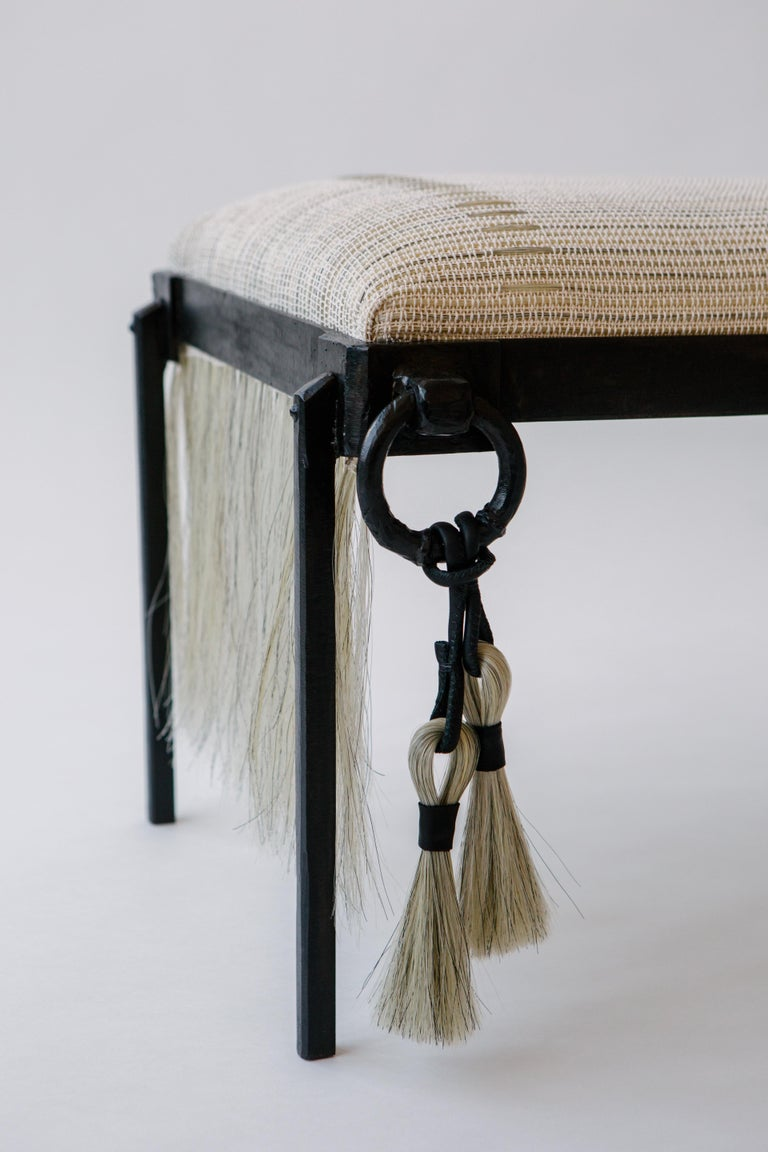 Custom Listing, Handmade Horse Hair and Iron Stool/Bench by J.M. Szymanski In New Condition For Sale In Bronx, NY