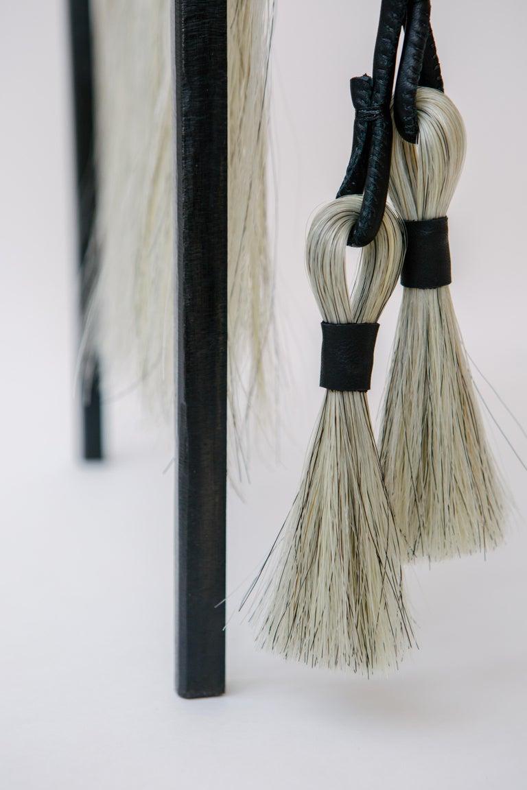 Steel Custom Listing, Handmade Horse Hair and Iron Stool/Bench by J.M. Szymanski For Sale