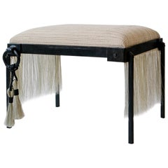 Custom Listing, Handmade Horse Hair and Iron Stool/Bench by J.M. Szymanski