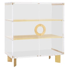 Custom Lucite Cabinet with Brass Shelves