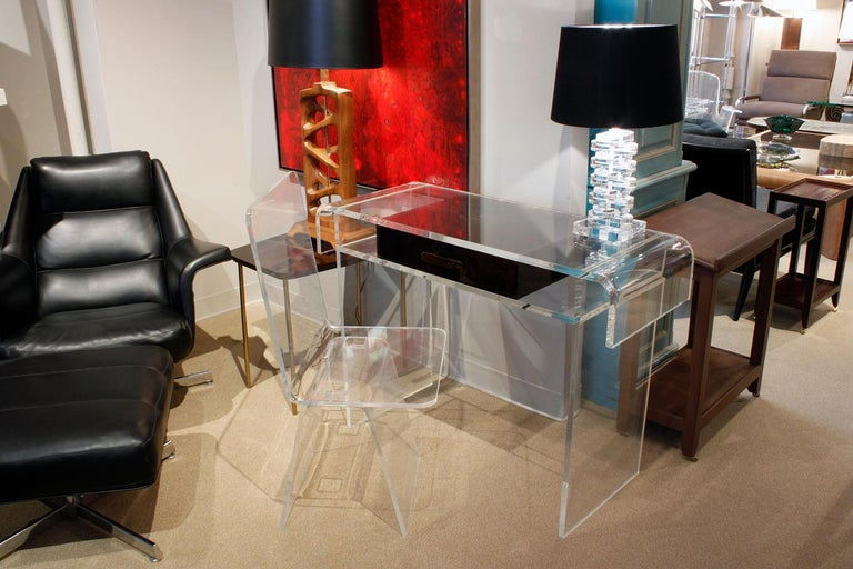 Custom Lucite Desk Chair, 1970s In Excellent Condition For Sale In New York, NY