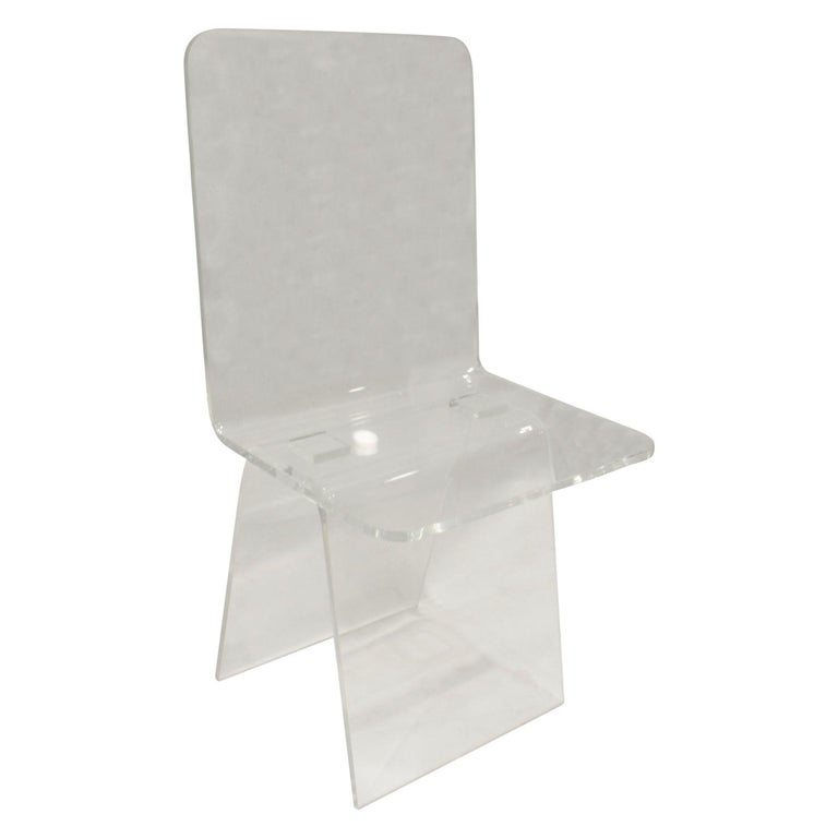 Custom Lucite Desk Chair, 1970s For Sale