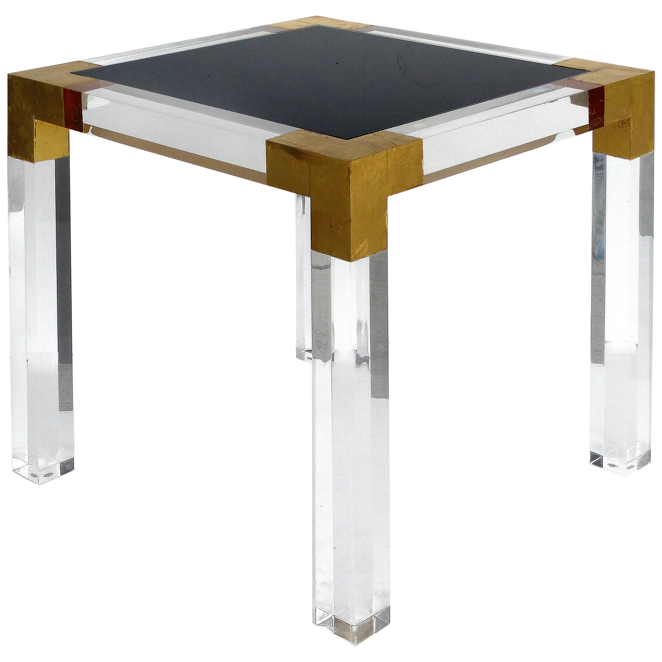 Custom Lucite Side Table with Interchangeable Tops and Gold Leaf Accents